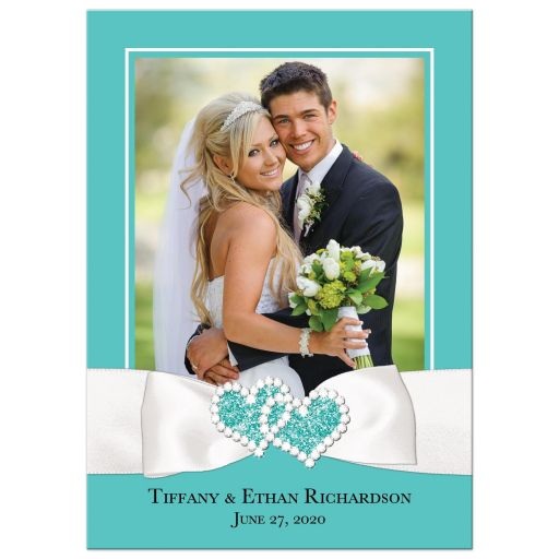 Tiffany blue white ribbon jewels personalized wedding photo thank you card flat