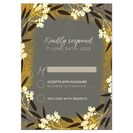 Gold Grey Ivory Wildflower Floral Bat Mitzvah RSVP Reply Card
