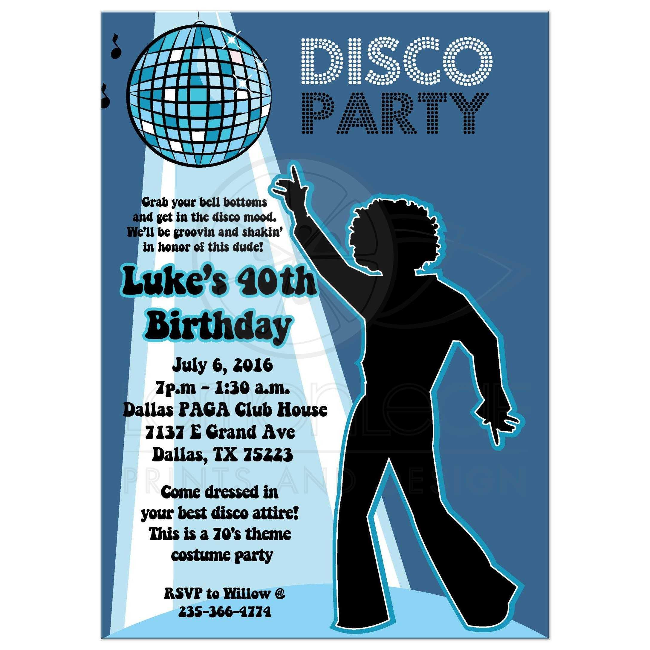 Disco Ball 70 S Theme Any Age Birthday Party Invitation Boy