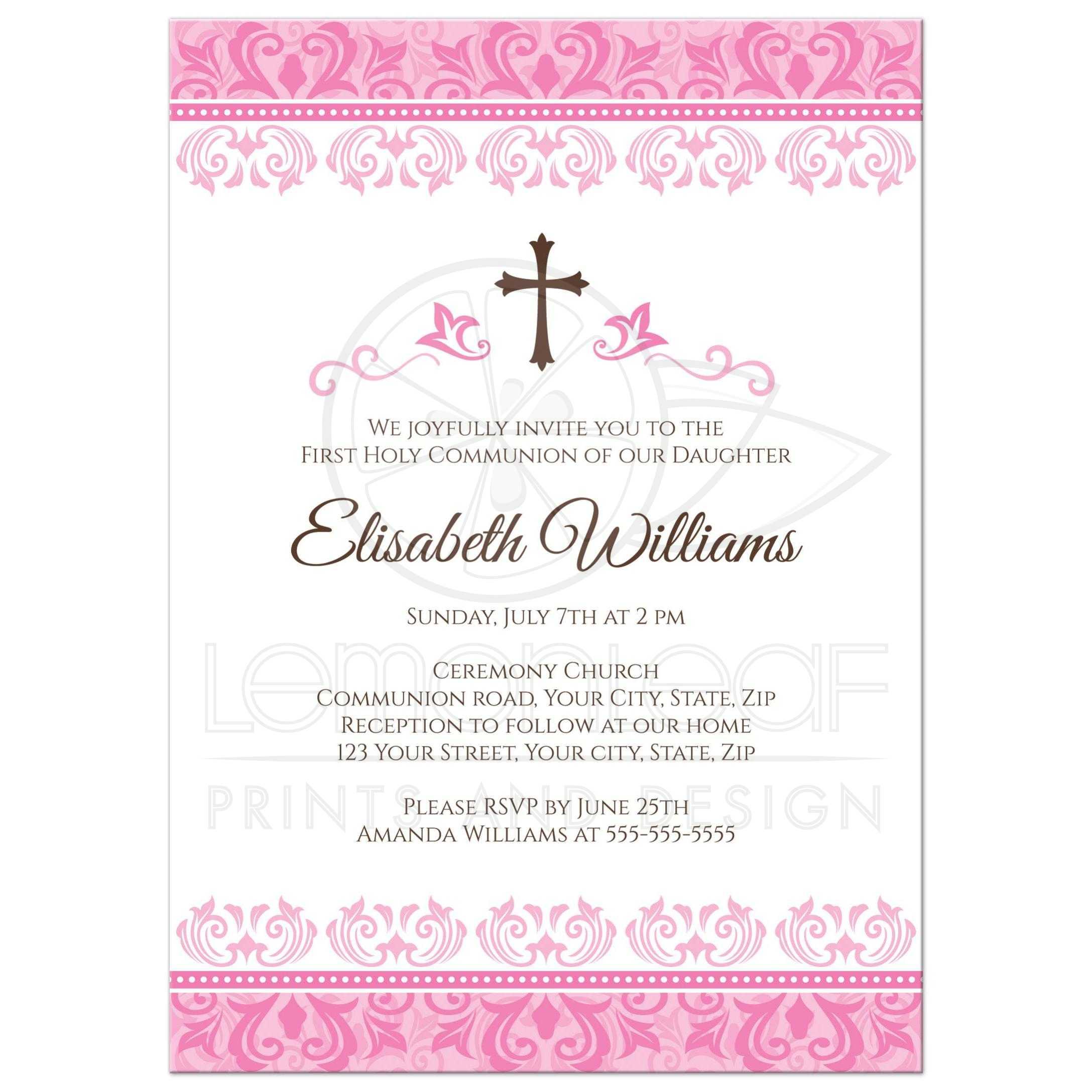 Elegant Pink Damask First Holy Communion Confirmation