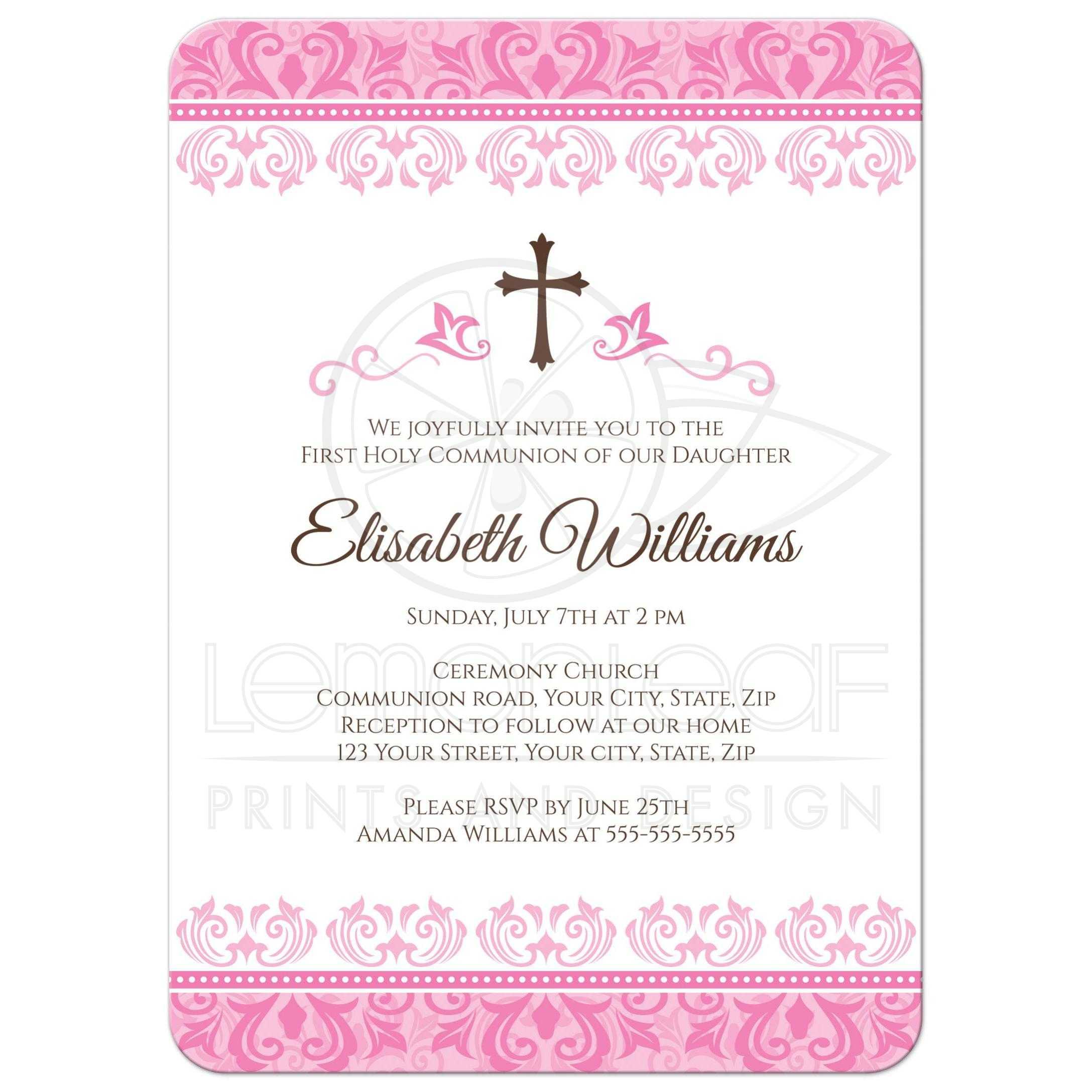 elegant pink damask first holy communion confirmation invitation