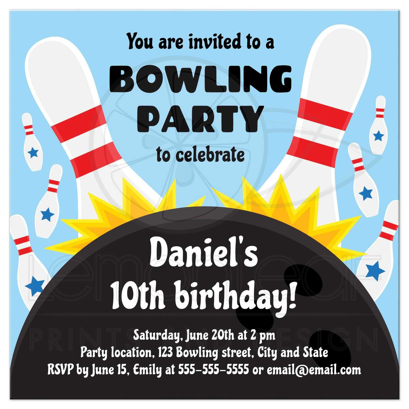bowling birthday party invitation for kids with bowling ball striking pins blue background