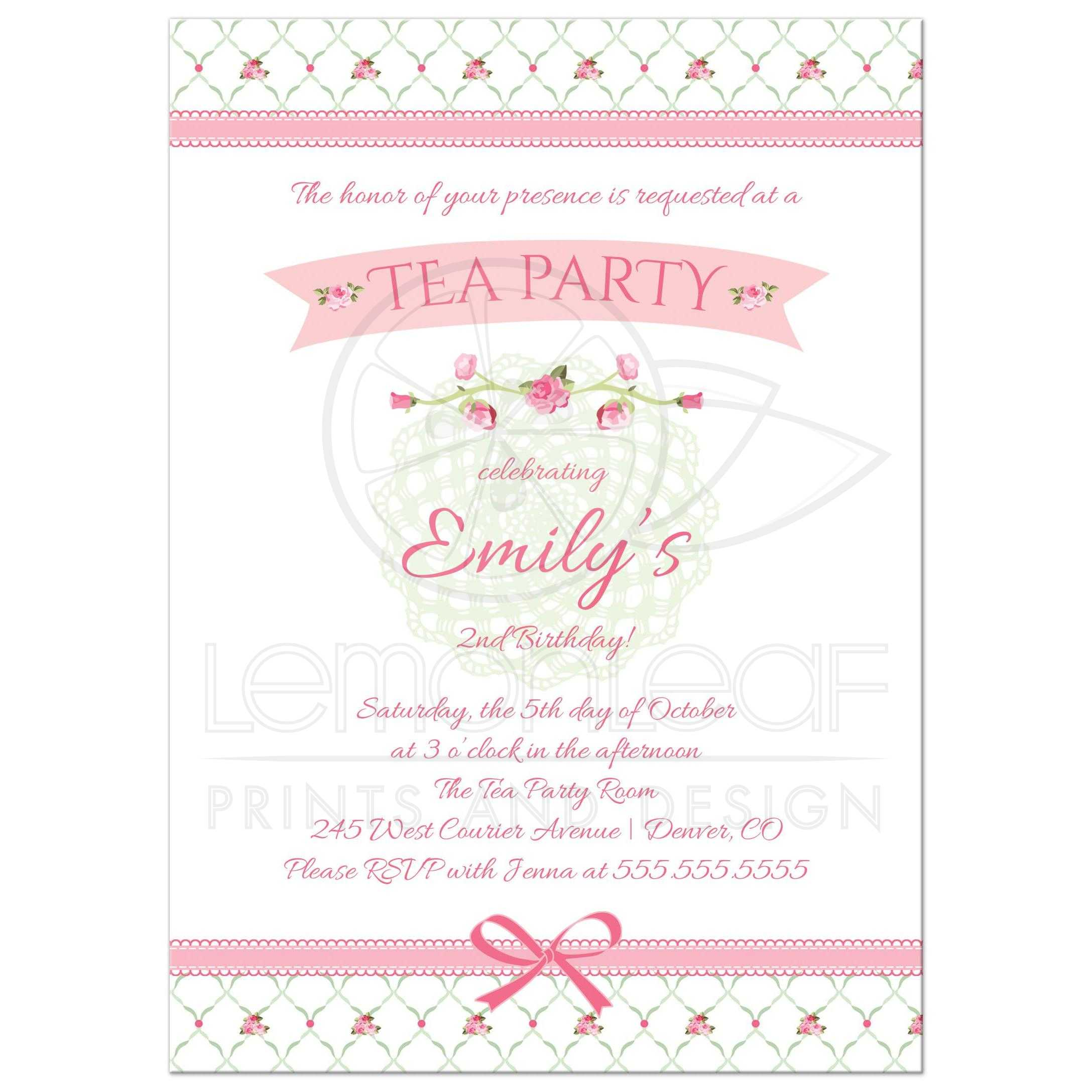 birthday party invitation pink floral tea party
