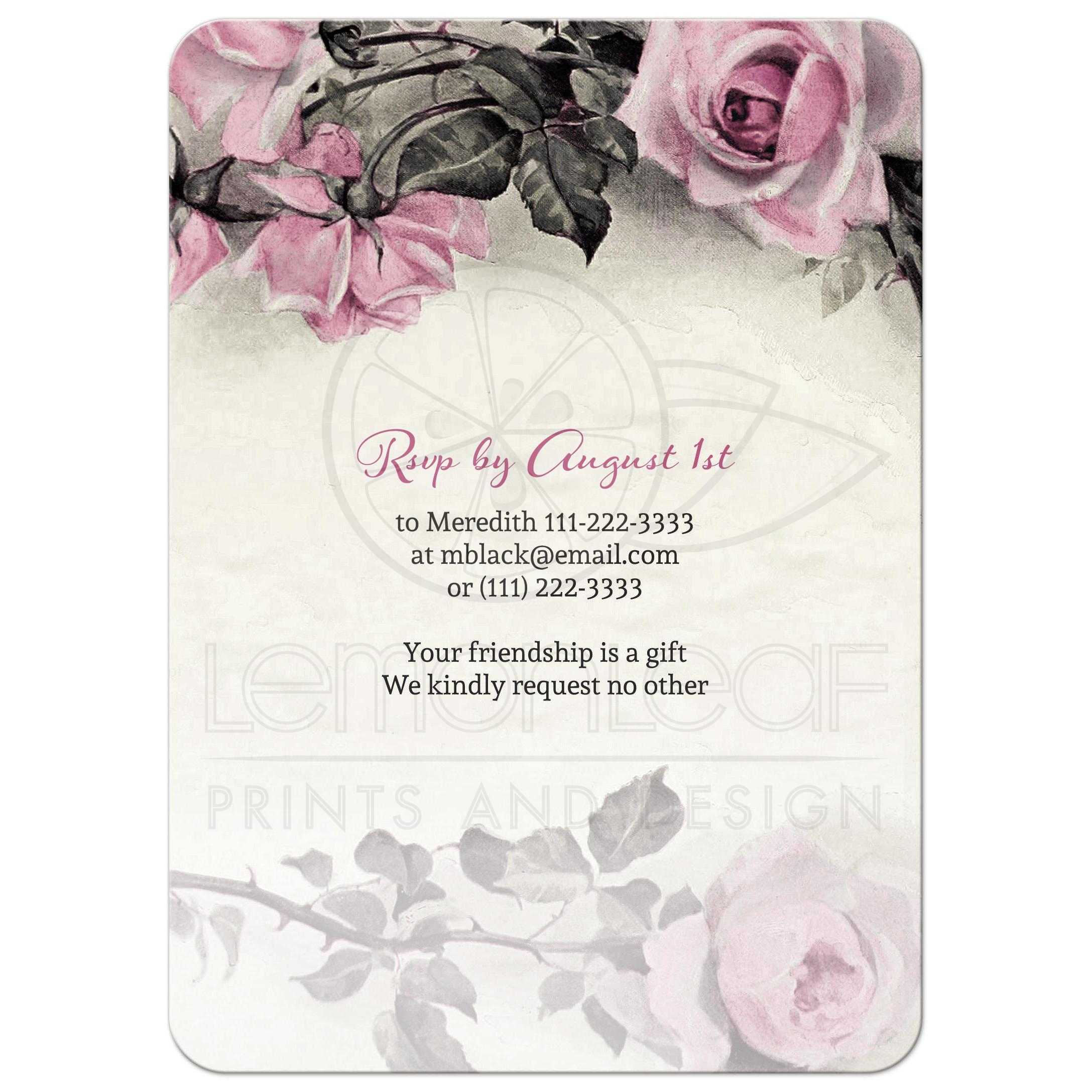 90th birthday invitation vintage pink grey rose