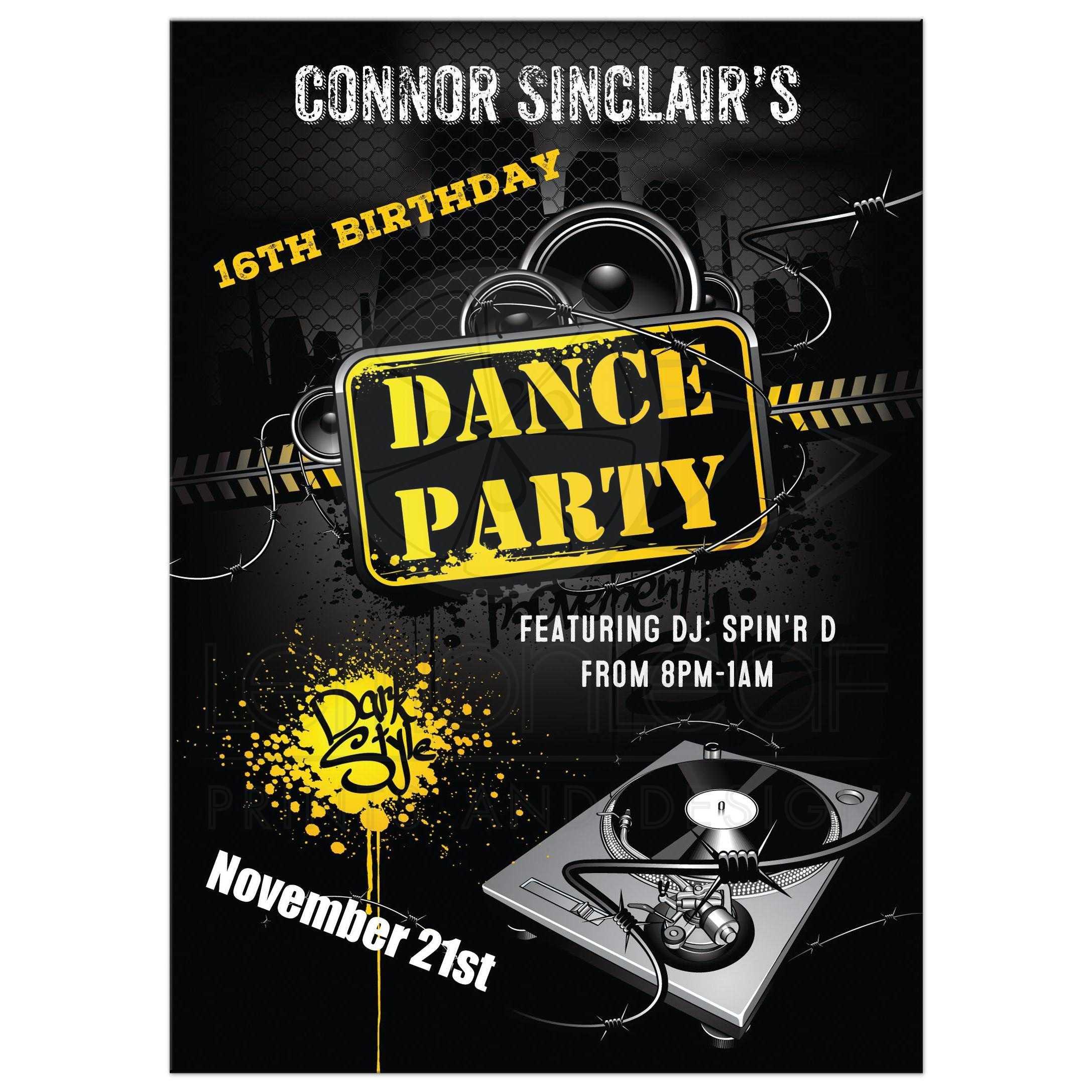 16th Birthday Party Invitation Urban Grunge Dance Party