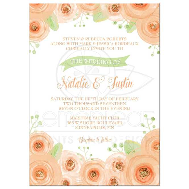 Wedding Invitation Peach And Green Fl Watercolor
