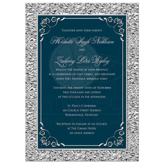 Wedding Invitation Teal Silver