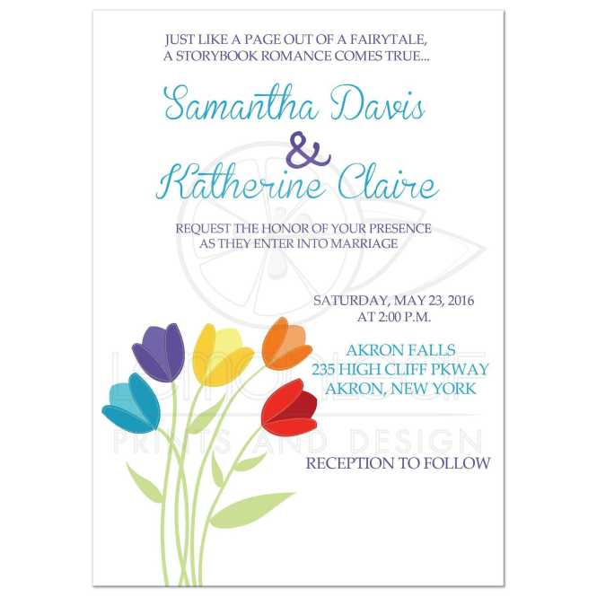 Tulip Multi Color Rainbow Wedding Invitation White