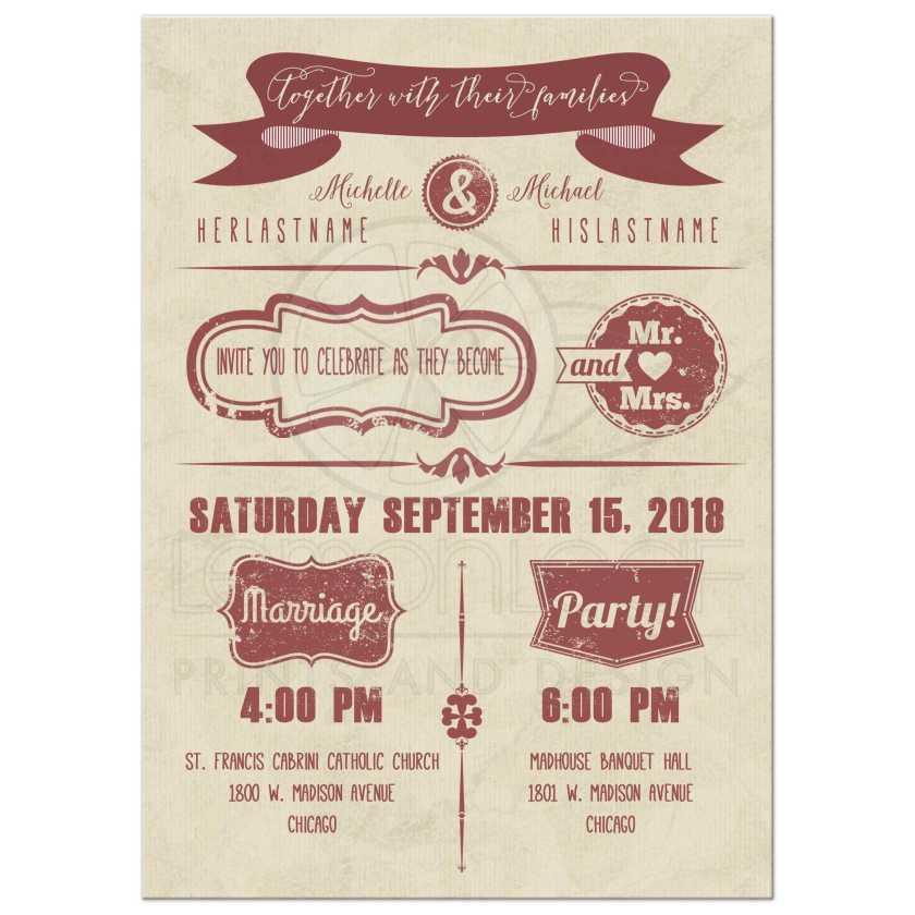 Modern Marsala Typography With Grunge Sts Wedding Invitation