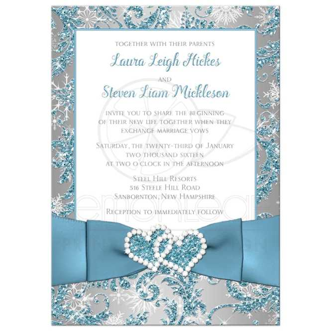 Wedding Invitation Winter Wonderland 2 Ice Blue Silver White Snowflakes Faux Glitter Printed Ribbon