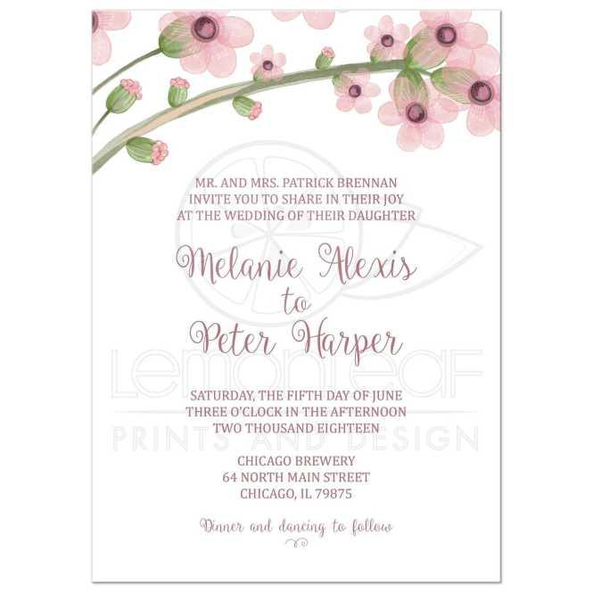 Wedding Invitation Light Violet Purple Watercolor Flowers