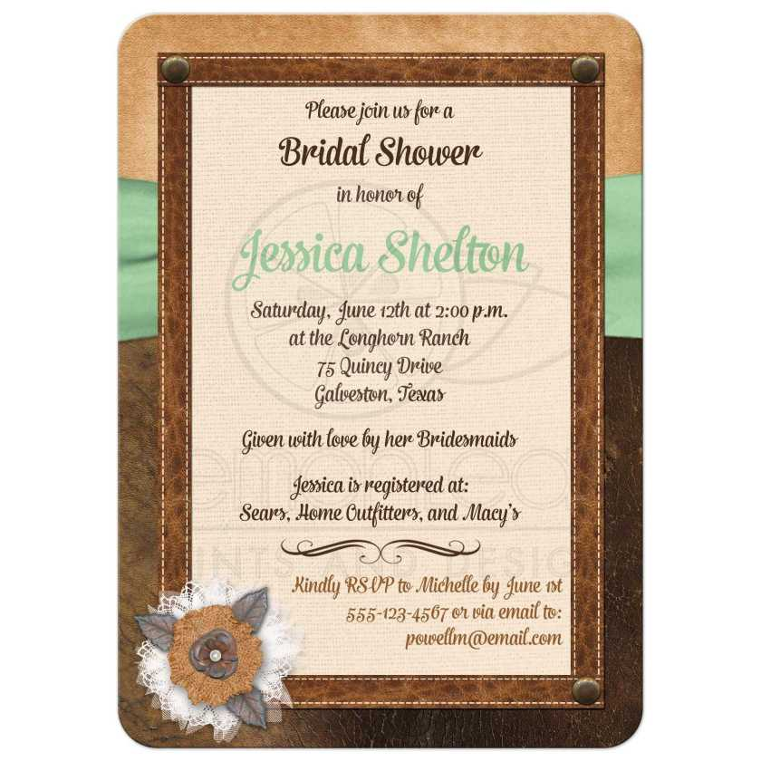 Burlap Best Bridal Shower Invite With Brown Leather Ivory Linen Mint Green Ribbon
