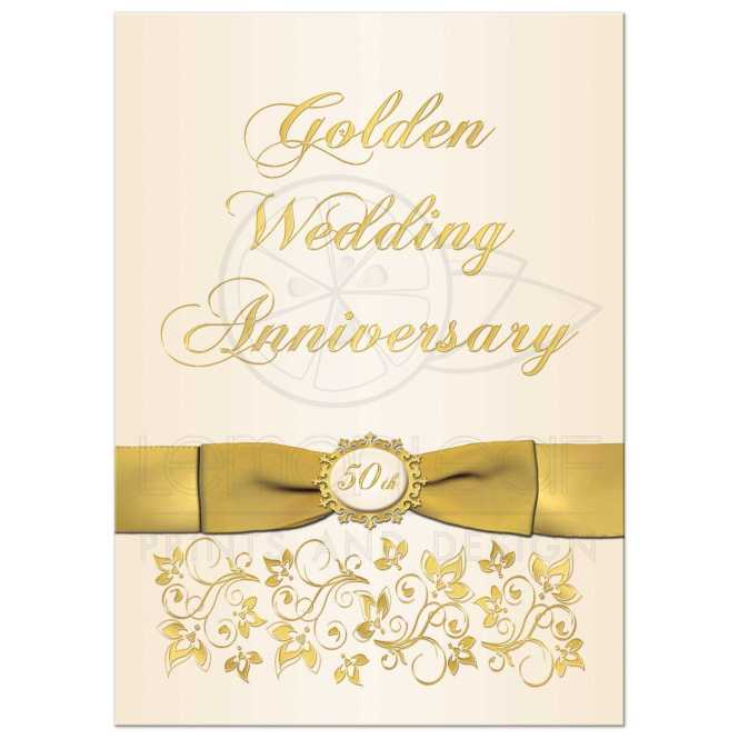 50th Wedding Anniversary Invitation Ivory And Gold Fl Printed Bow