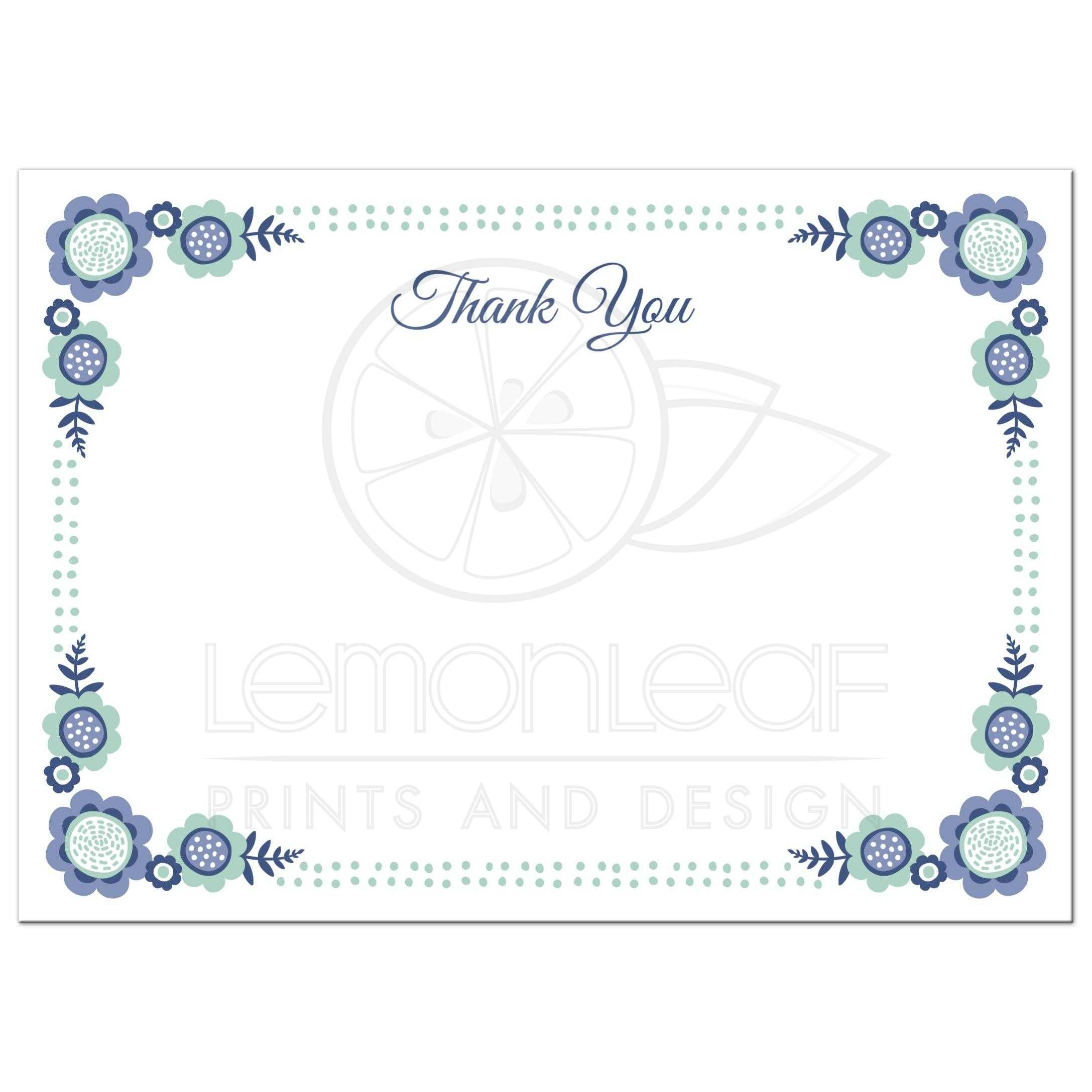 Blue Bloom Flat Thank You Note Card With Cute Flower