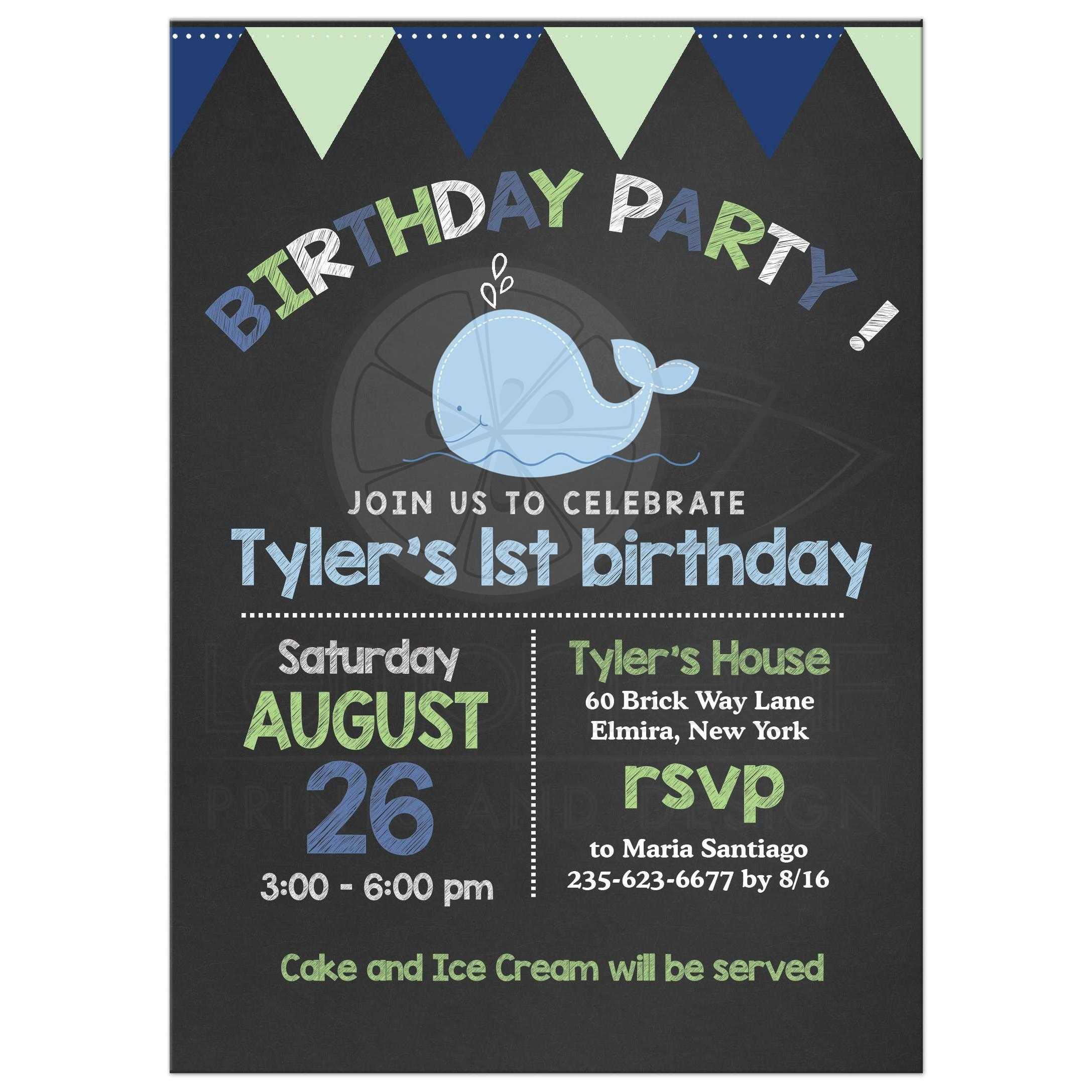 little whale chalkboard birthday invitation navy blue mint green