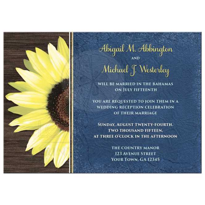 Reception Only Invitations Rustic Sunflower And Blue