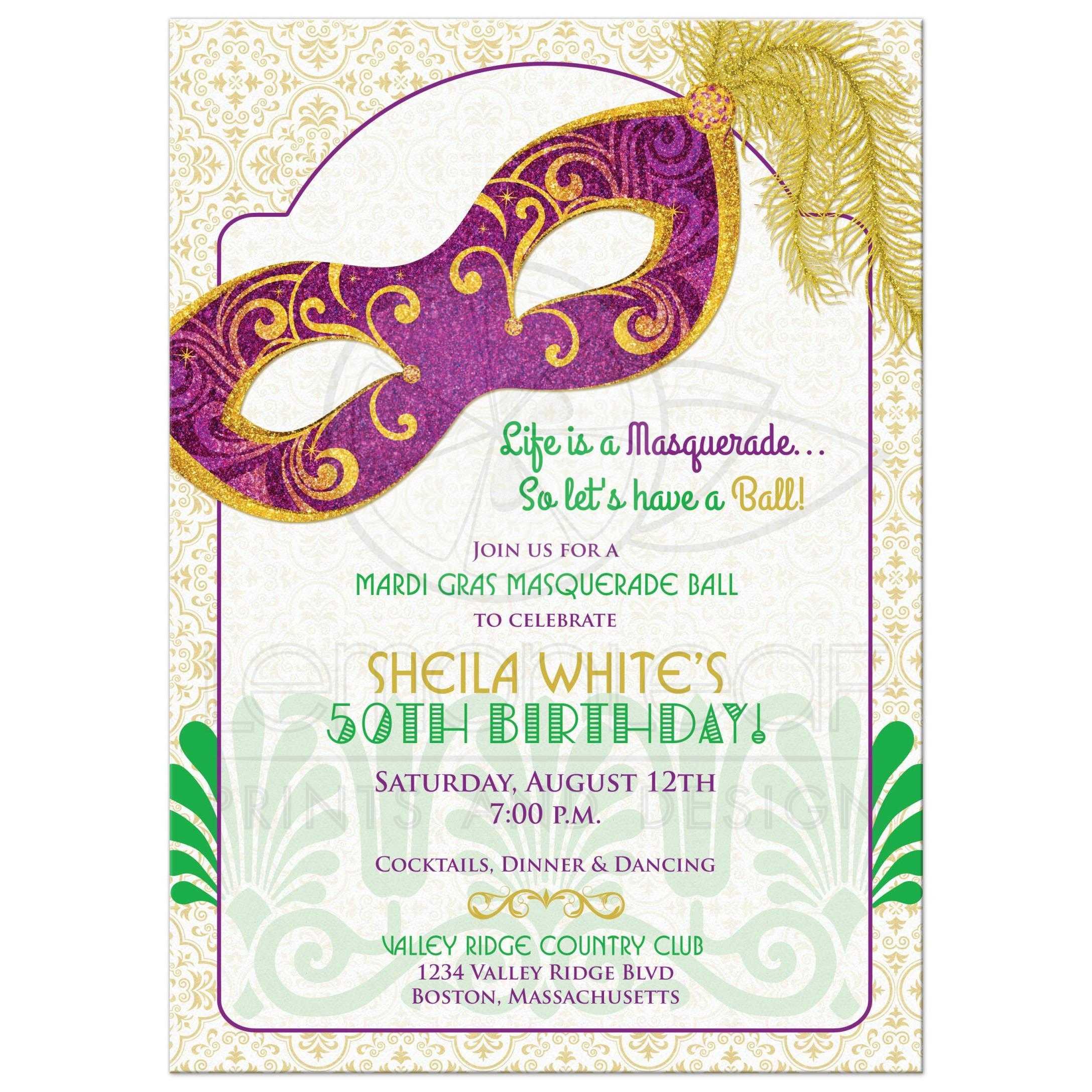 mardi gras 50th birthday party invitation masquerade mask