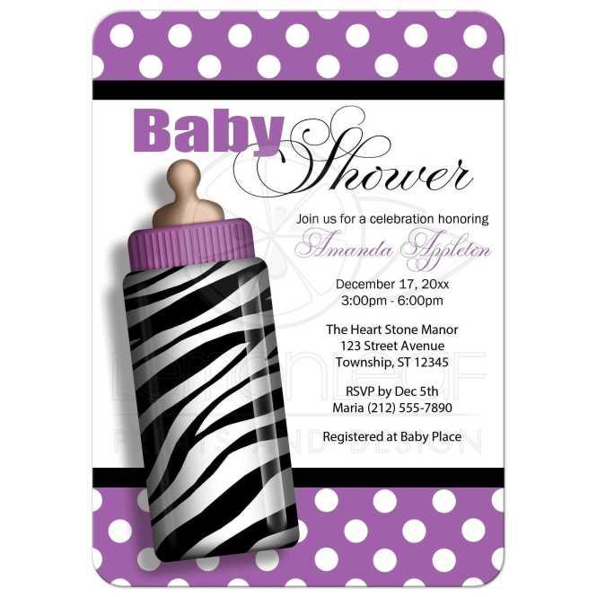 Baby Shower Invitations Zebra Print Bottle Purple