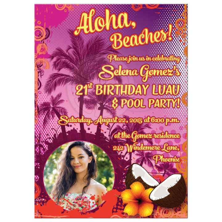 Best 21st Birthday Party Luau Invitation With Photo