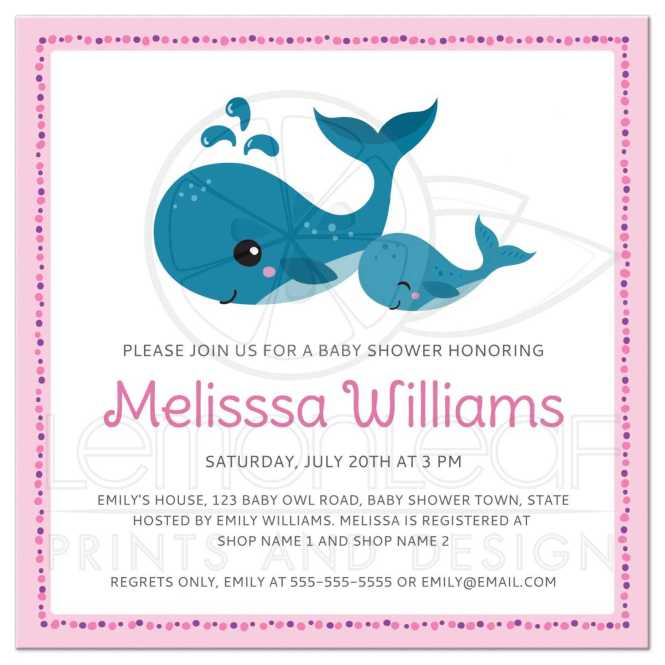 Mommy And Baby Whales Cute Pink Shower Invitation For S Under The Sea Theme