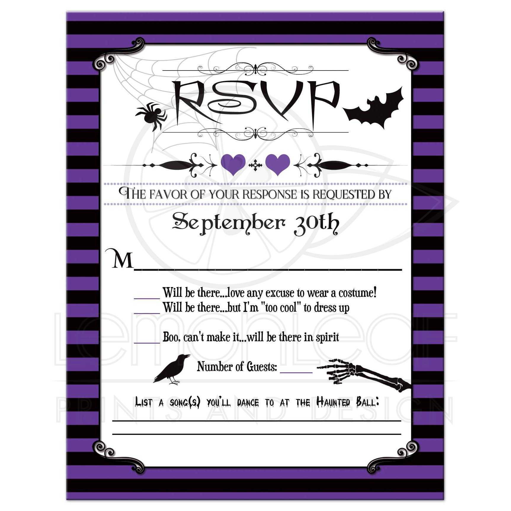 halloween wedding rsvp card purple black stripes spider web bat raven