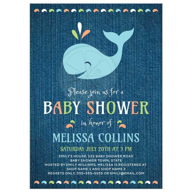 Whale On Blue Denim Cute Baby Shower Invitation Under The Sea Theme