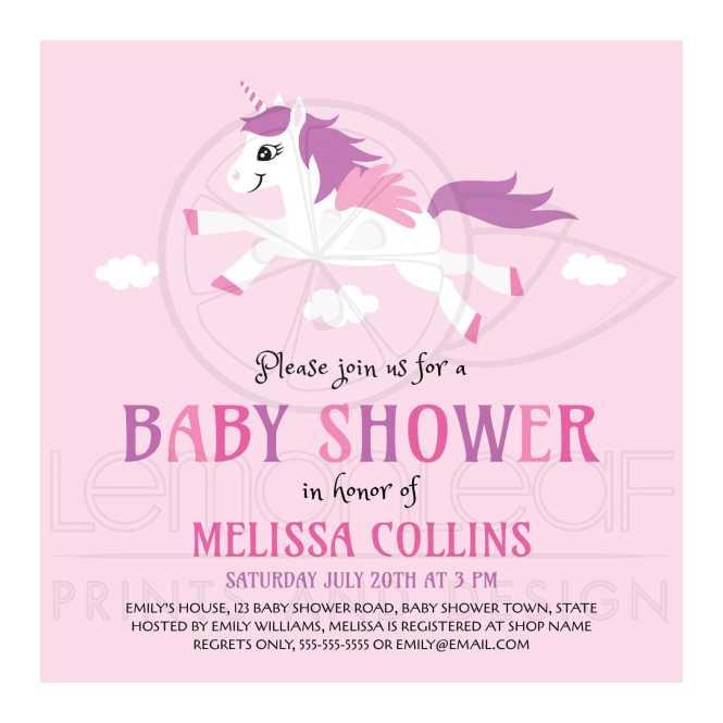 Cute Unicorn Baby Shower Invitation