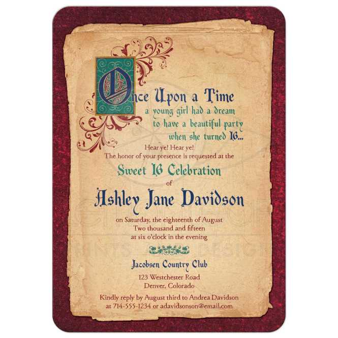 Fairy Tale Sweet 16 Invitation Meval Once Upon A Time