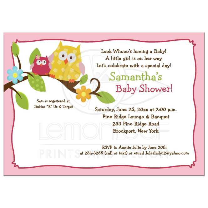 Hy Tree Owls Woodland Pink Baby Shower Invitations