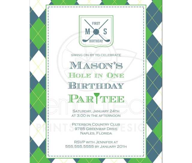 Preppy Plaid Boys Golf Birthday Party Invitations