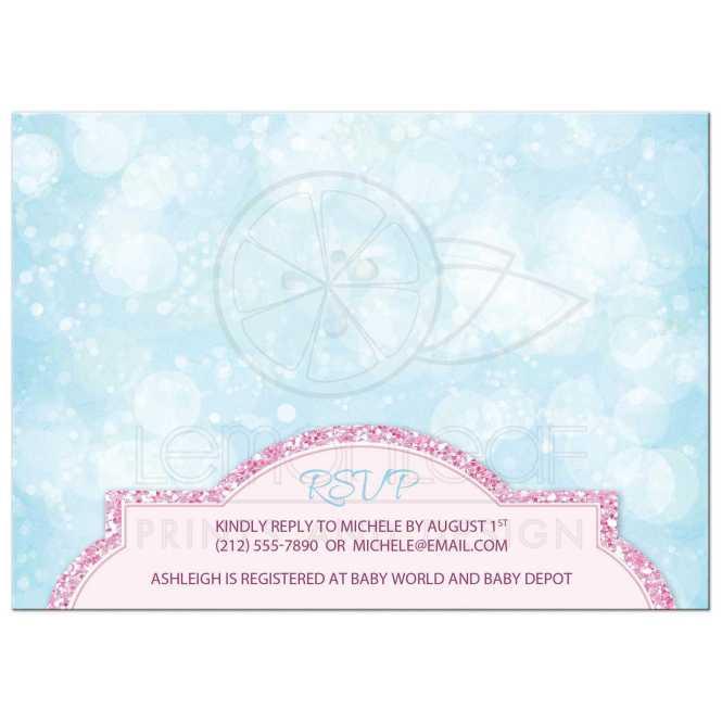 Baby Shower Invitations Royal Princess Pink Glitter Blue S