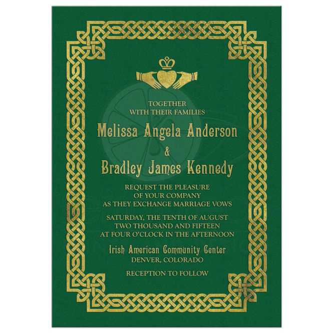 Irish Celtic Wedding Invitation Green Gold Claddagh Knot