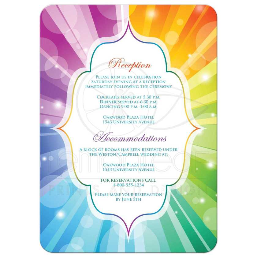 Great Wedding Invites With Rainbow Stripes And Heart