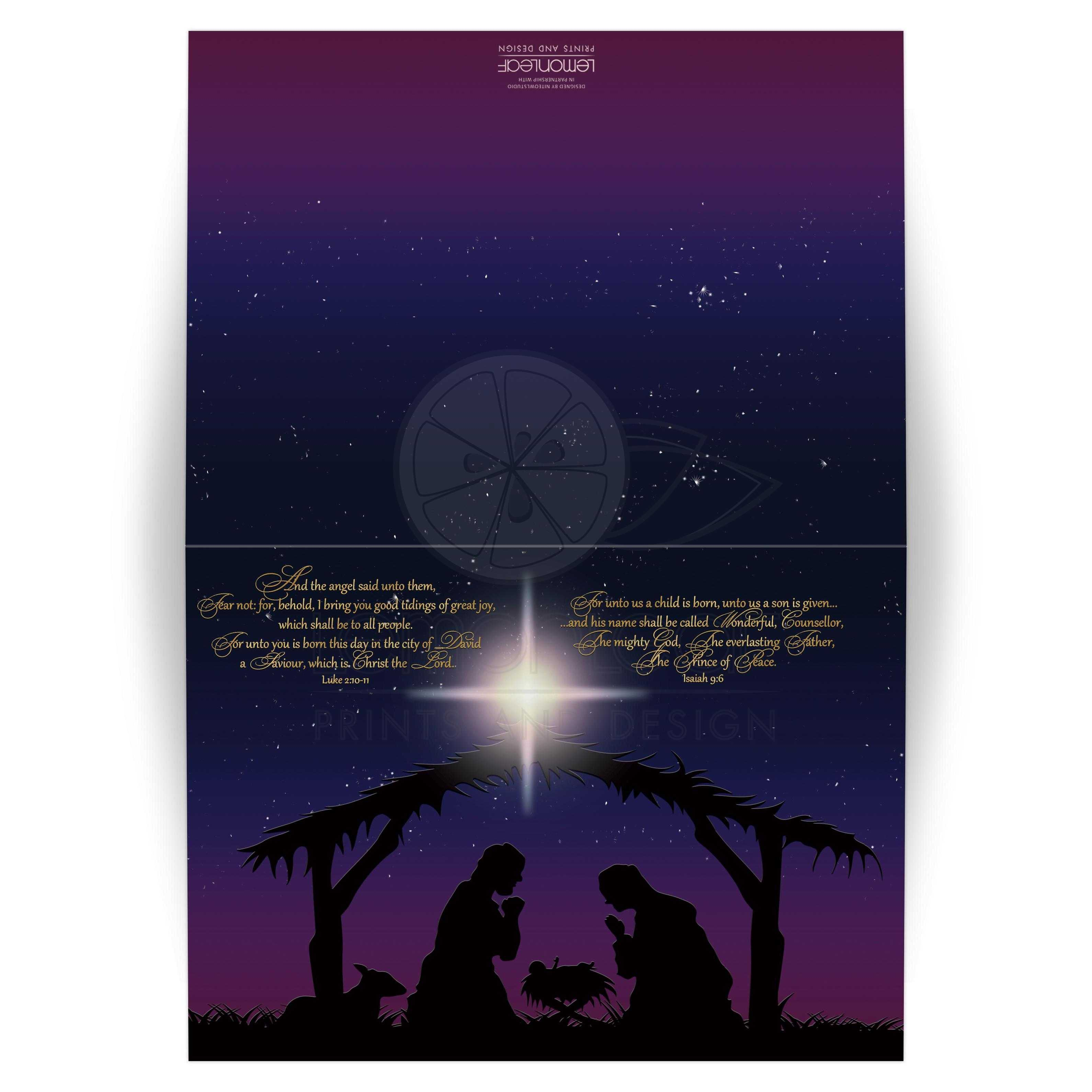 5x7 Holy Night Nativity Christmas Card With Gold Bible