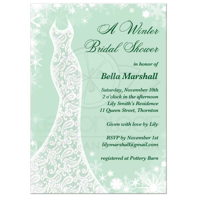 Snowflakes And A Lacy Wedding Dress Decorate This Mint Green Winter Bridal Shower Invitation