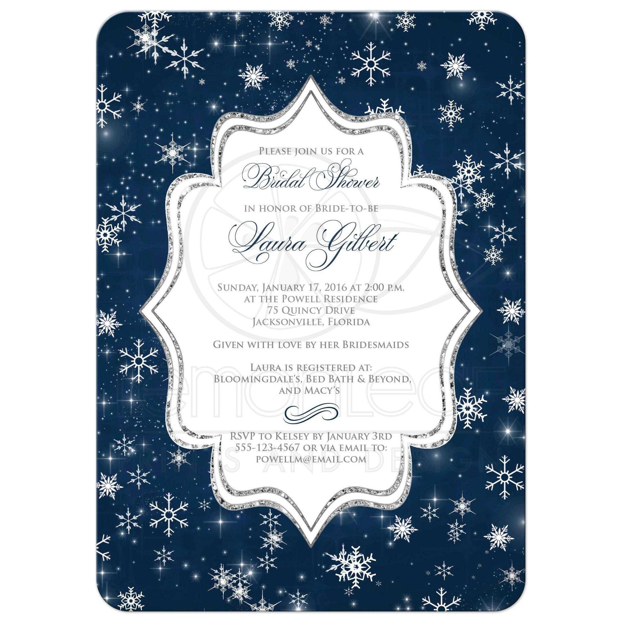 Winter Bridal Shower Invitation A Wintry Night Navy