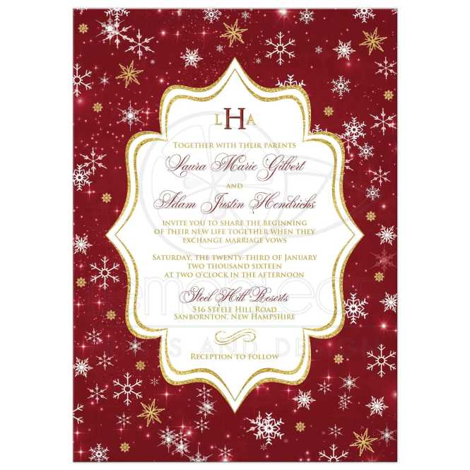 Monogrammed Wedding Invitation Cranberry Gold White Snowflakes Stars