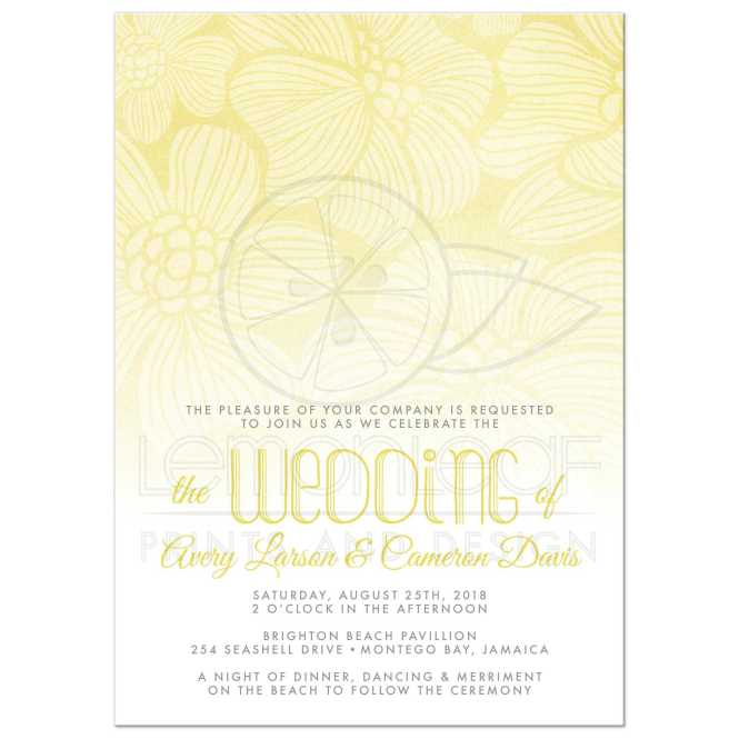 Wedding Invitations Yellow Ombre Tropical Flowers
