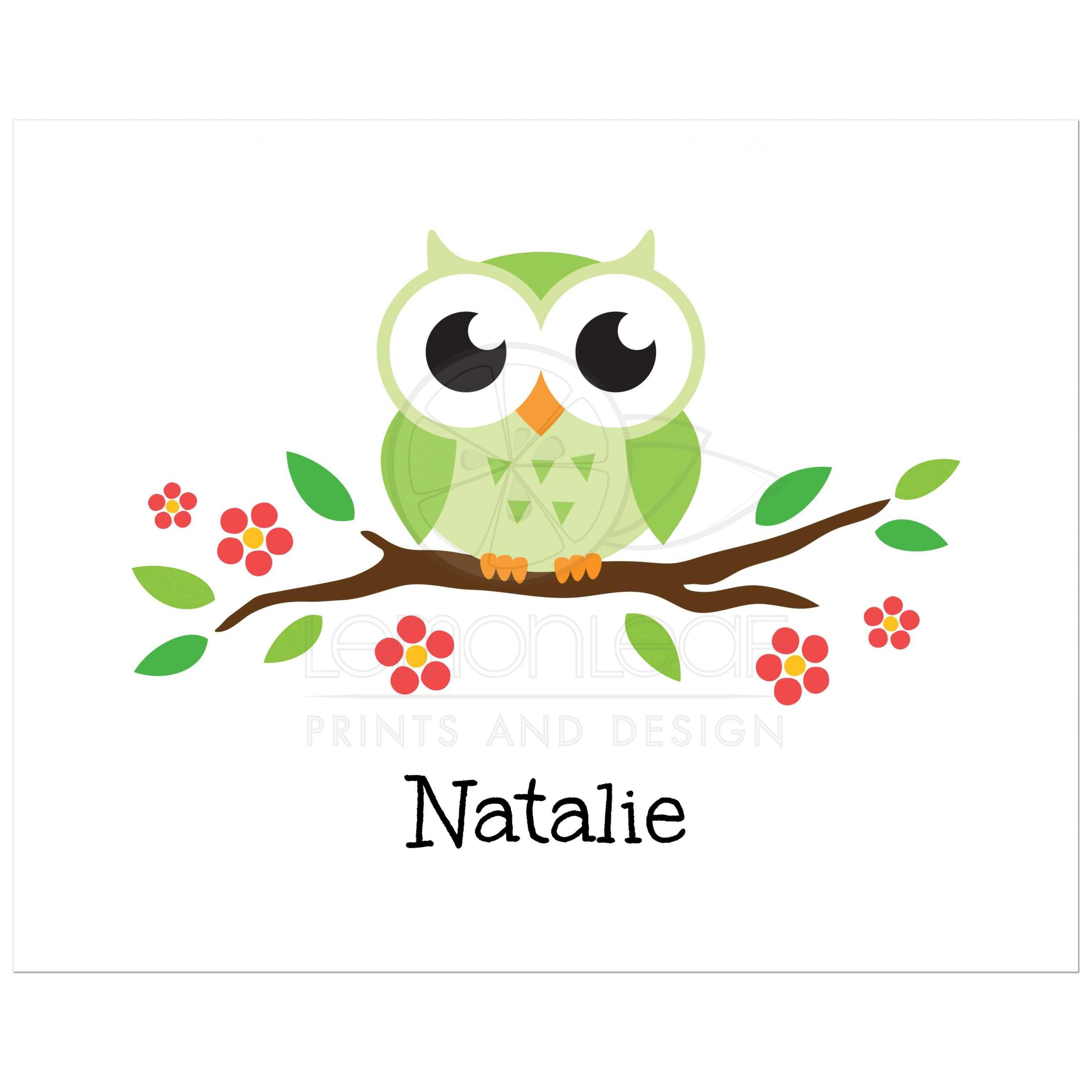 Green Owl On Flowering Branch Nursery Wall Art Print For