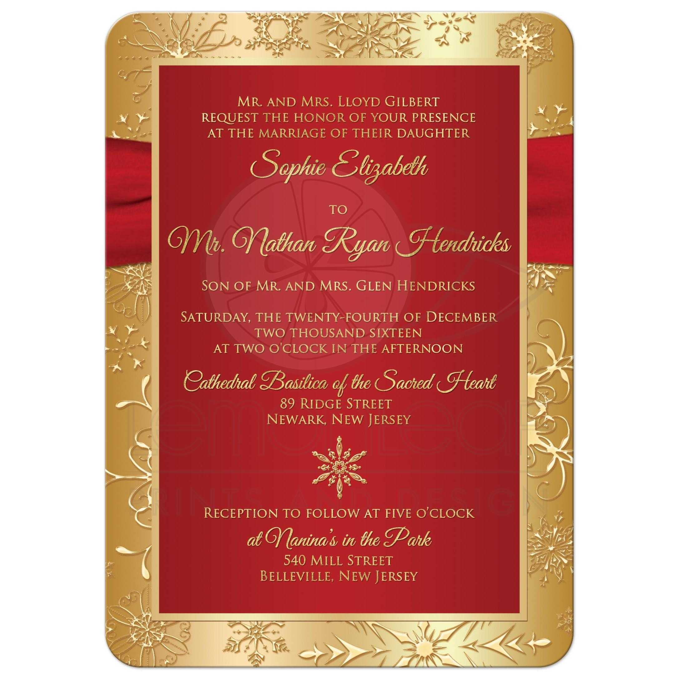 Winter Wedding Invitation Red Gold Snowflakes Printed