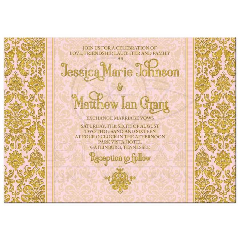 Blush Pink And Gold Vine Damask Photo Wedding Invitation Back
