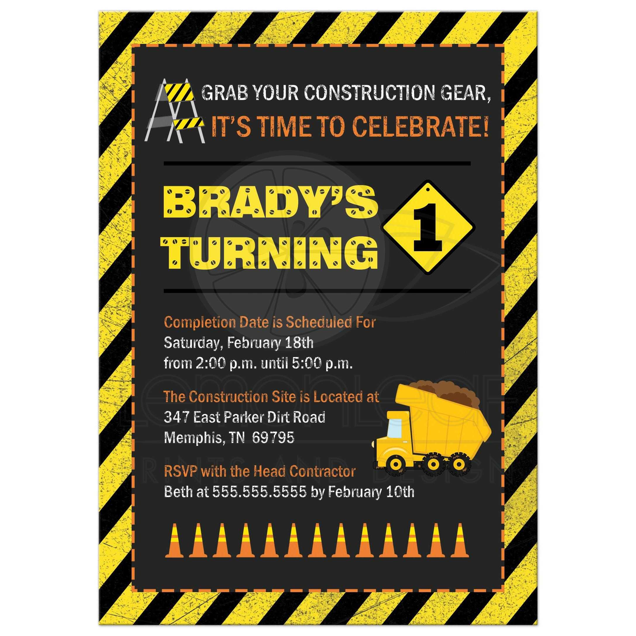 birthday party invitation boy s construction theme
