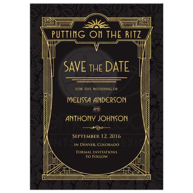 Art Deco Wedding Save The Date Card Black Gold Roaring 20s Gatsby Style