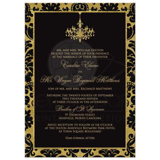 Wedding Invitation Black Damask Faux Gold Foil Chandelier
