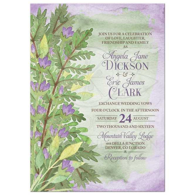 Woodsy Watercolor Fl Wedding Invitation Purple Green Woodland Bouquet