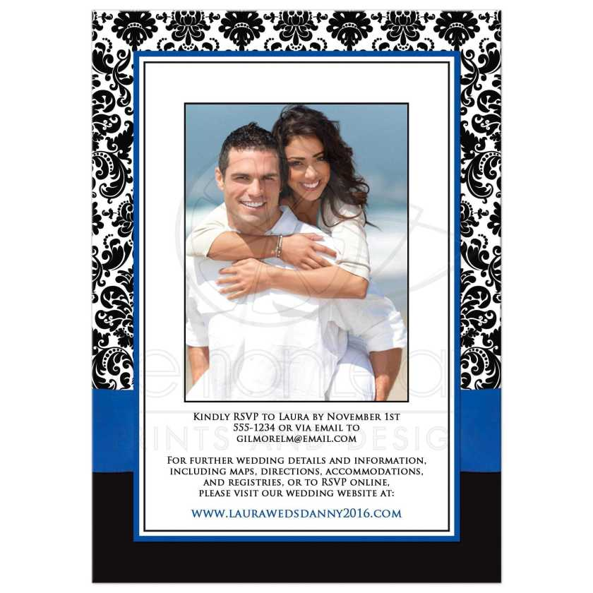 Glitter Great Royal Blue Black And White Damask Photo Wedding Invites With Ribbon