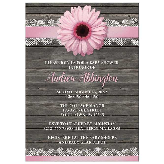 Baby Shower Invitations Pink Daisy Lace Rustic Wood