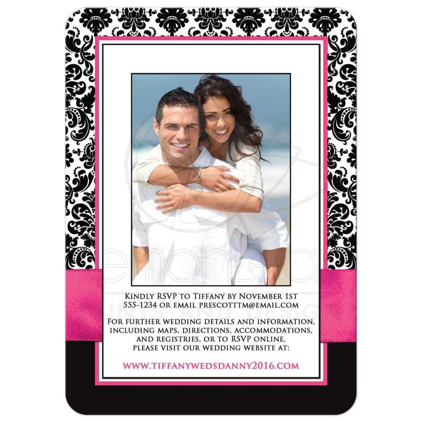 Best Fuchsia Pink Black And White Damask Wedding Invites With Ribbon Jewelled Joined Hearts