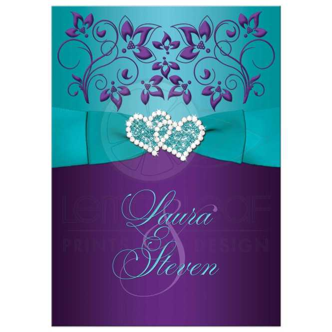 Wedding Invitation Purple Aqua White Fl Printed Ribbon Double Jeweled Hearts