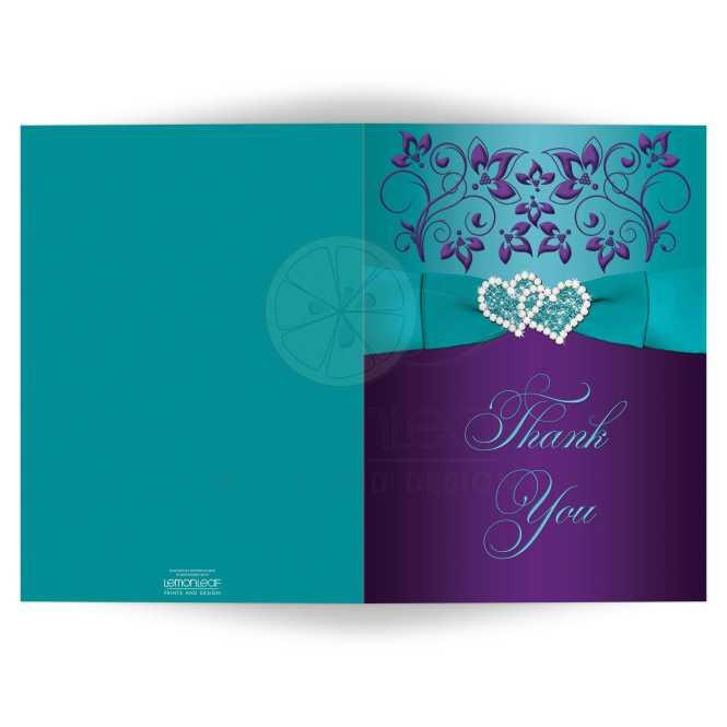 Wedding Thank You Card Purple Aqua Bllue White Fl Printed Ribbon Double Hearts